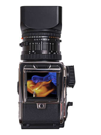 photomontage: The image shows photomontage of a medium format camera over white