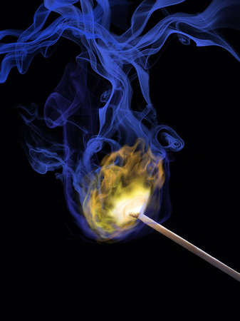 photomontage: The image shows a photomontage of a burning match Stock Photo