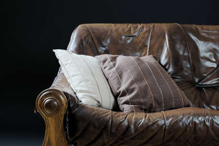 The image shows a leather couch with two beddings photo