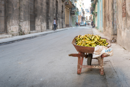 Bananas in a red rusty wheelbarrow - Havana, Cuba