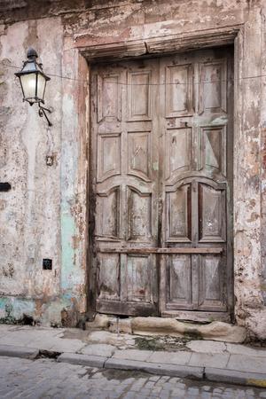 Old vintage wooden door in Old Town - Havana ,Cuba