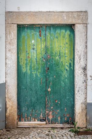Old green vintage door in decay Banco de Imagens - 88713092