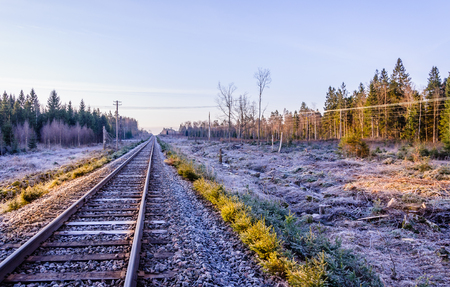 Frosty morning sunrise at the traintracks leading into the unknown distance in sweden - scandinavia