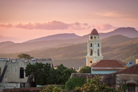 Sunset touching the church and mountains at Trinidad, Cuba