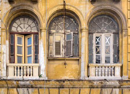 Worn out colorful windows in Havana, Cuba Banco de Imagens - 90458000