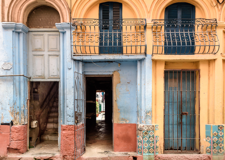 Old worn out doorway in Havana, Cuba
