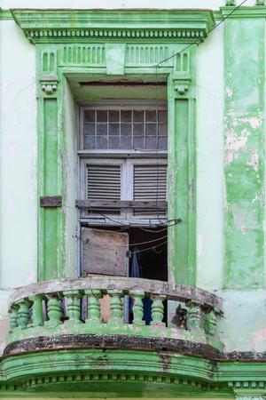 Worn out colorful windows in Havana, Cuba Banco de Imagens