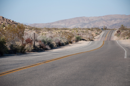 Road disappearing in the distant dessert at Yoshua Tree national park, California Banco de Imagens