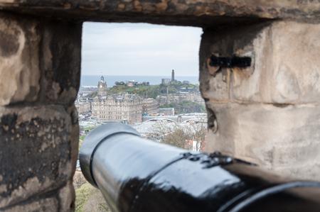 Cannon view from Edinburgh Castle, Scotland Banco de Imagens - 95377371