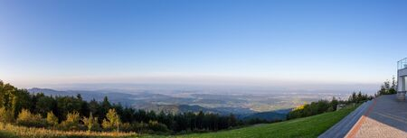 Scenic panorama view of the upper rhine valley from the hochblauen mountain in the black forest, germany