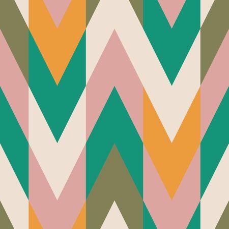 Couleur unie bloquant l'échantillon de motif vectoriel sans couture en zigzag de chevron. En vert turquoise, or jaune ocre, rose, crème et olive.
