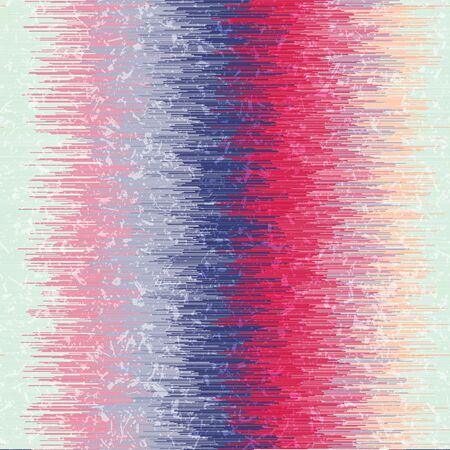 Modern Ikat Vertical Stripe Seamless Repeat Vector Pattern Swatch.  Ancient Indonesian weaving technique. Ombre, gradient, colorful.