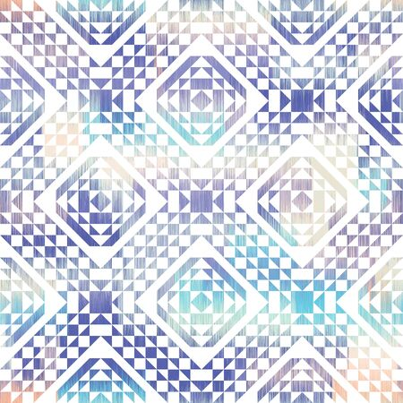 Softly boho textured seamless geometric repeat vector pattern in blush pink and blue.  White triangles and squares mixed with a textured background in a tribal ethnic style.  Kilim like tile shapes. Stock Illustratie