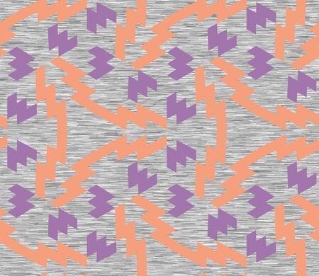 Gray Marl Heather Seamless Repeat Vector Pattern Swatch with Neon Orange and Purple Polygonal Geometric Shapes. Knit t-shirt fabric texture.