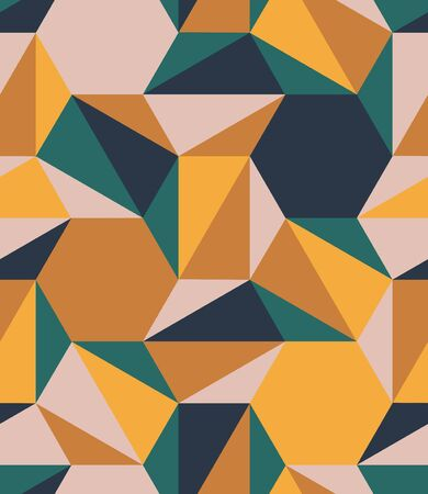 Hexagon Triangle Tile Mesh Color Seamless Pattern