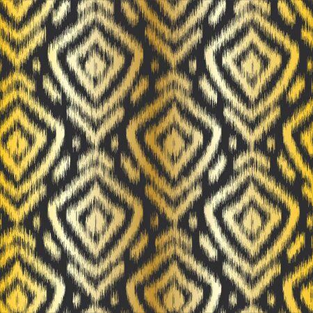 Gold diamond ikat seamless pattern swatch on black