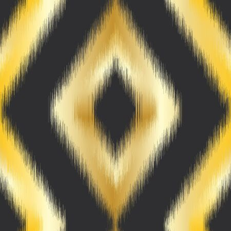 Gold diamond ikat seamless pattern swatch on black