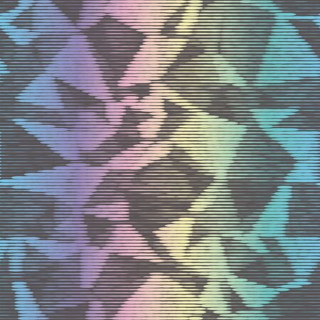 Holographic ink bleed seamless pattern in rainbow