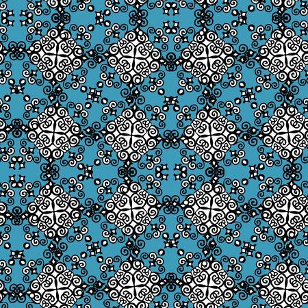 Ornate paisley mandala seamless pattern in blue