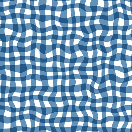 Distorted gingham blue and white wavy line pattern Ilustrace