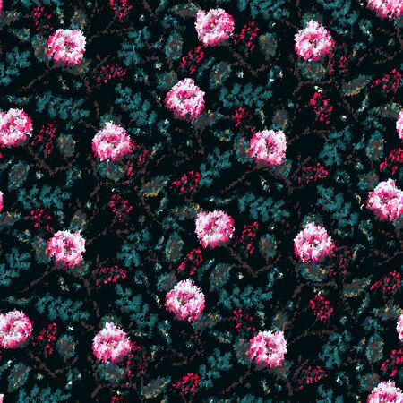 Grungy Mottled dark moody floral pattern on black