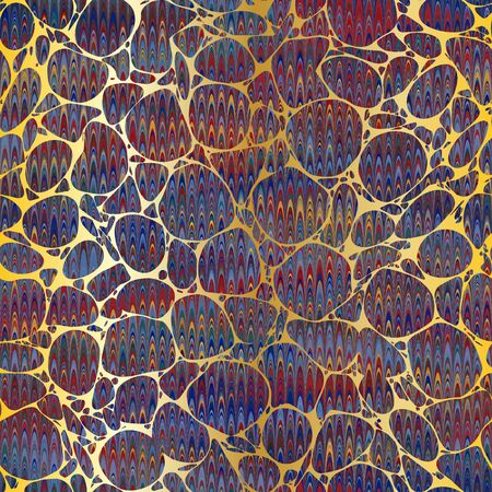 Colorful combed hand marbled texture with gold