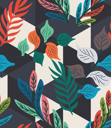 Colorful tropical leaf fern geo seamless pattern Illustration