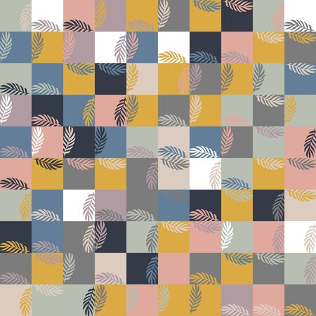 Square floral random girly seamless graphic swatch 矢量图像