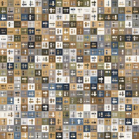 Tan Micro Pattern of Squares with Layered Geo