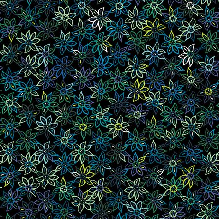 Funky stylized moody naive floral micro pattern Ilustrace