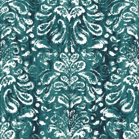 Damask teal turquoise dyed effect worn pattern Illustration