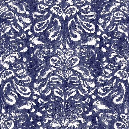 Damask indigo navy dyed effect worn navy pattern Vektorové ilustrace