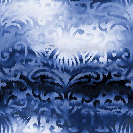 Indigo blue damask refracted glass glow chic tile