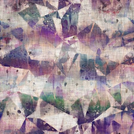 Seamless mixed media collage design in old aged worn look. Random triangle geo design overlaid, mottled, and distressed on fabric texture. Seamless repeat raster jpg pattern swatch.