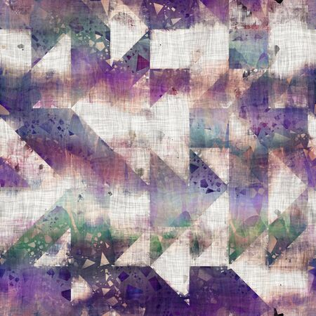 Seamless mixed media collage design in old aged worn look. Geometric tile mosaic design overlaid, mottled, and distressed on fabric texture. Seamless repeat raster jpg pattern swatch.