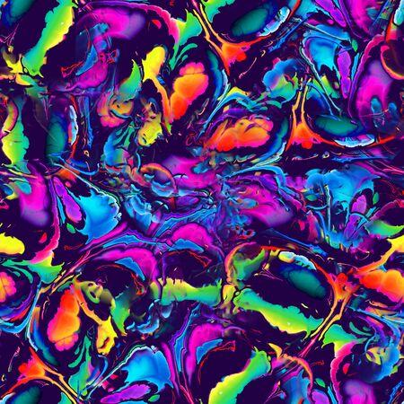 Vivid vibrant blob shapes glitch seamless pattern Banque d'images