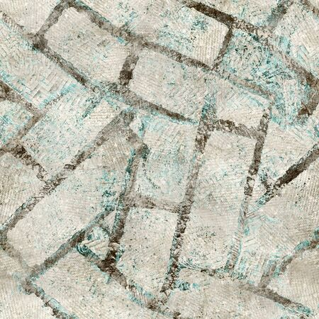 Tan and teal worn messy grungy seamless pattern