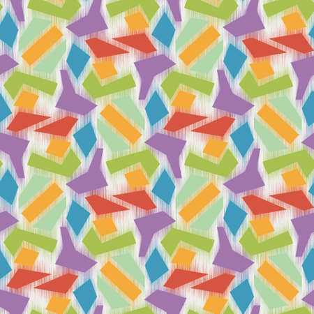 Bright fuzzy shapes on white seamless pattern