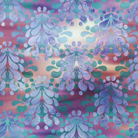 Shiny damask pattern on wavy satin like material