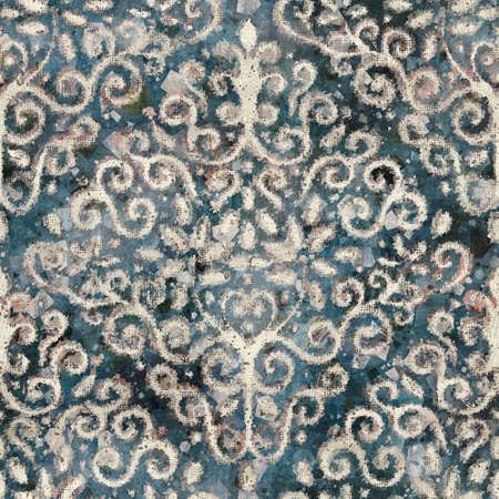 Chic formal grungy damask texture seamless pattern Banco de Imagens