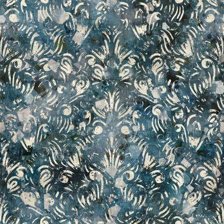 Chic formal grungy damask texture seamless pattern Stock Photo