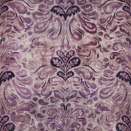 Luxury purple and tan damask seamless pattern Reklamní fotografie
