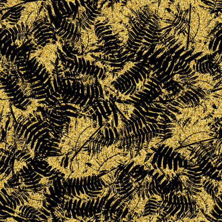 Gold glitter and black tropical seamless pattern