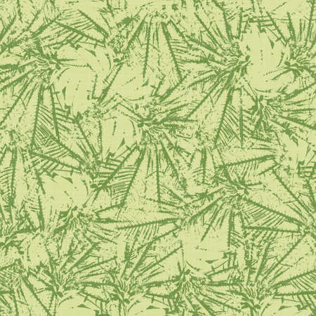 Bright line green tropical leaves seamless pattern