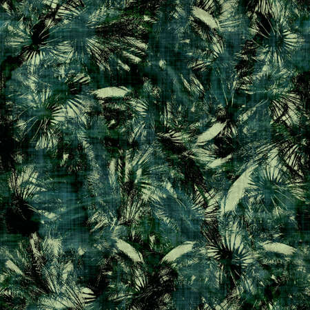 Green tropical palm tree leaves seamless pattern