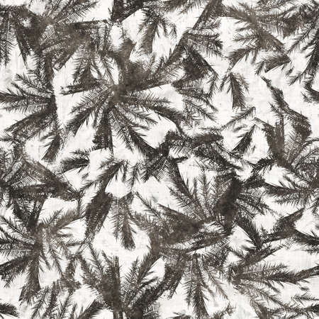 Neutral tropical palm tree leaves seamless pattern