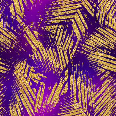 Gold glitter and purple tropical seamless pattern Stock fotó