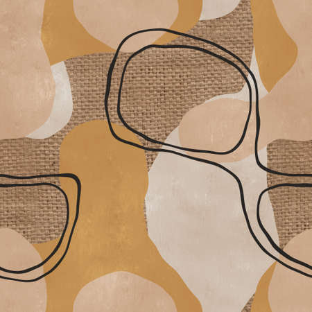 Seamless organic rounded curvy shapes on burlap
