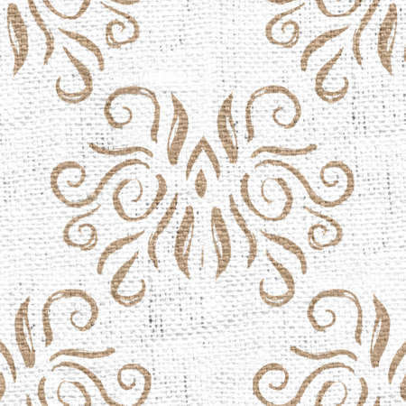 Seamless burlap with white paint pattern overlay