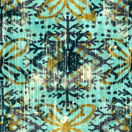 Seamless grungy tribal ethnic rug motif pattern.